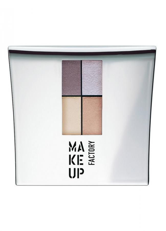 Тени для век серый пурпур/серый/светло-беж/молочный MAKE UP FACTORY