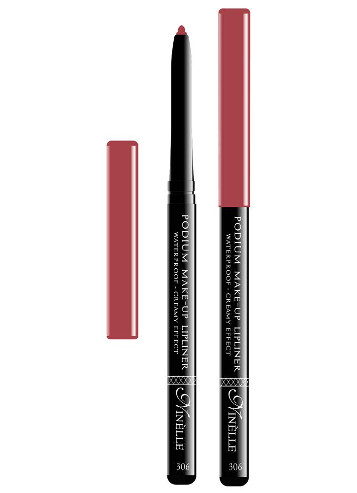 Карандаш для губ водостойкий Podium Make-Up  тон 306Карандаш для губ<br>-Водостойкий карандаш для губ поможет Вам очертить четкий контур губ, чтобы увеличить стойкость помады или блеска для губ.<br>Вес ГР: 0,35; Цвет: Темно розовый;