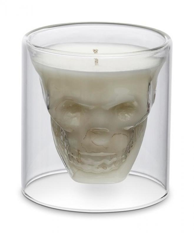 """Свеча """"череп"""" в стеклянном стакане"""
