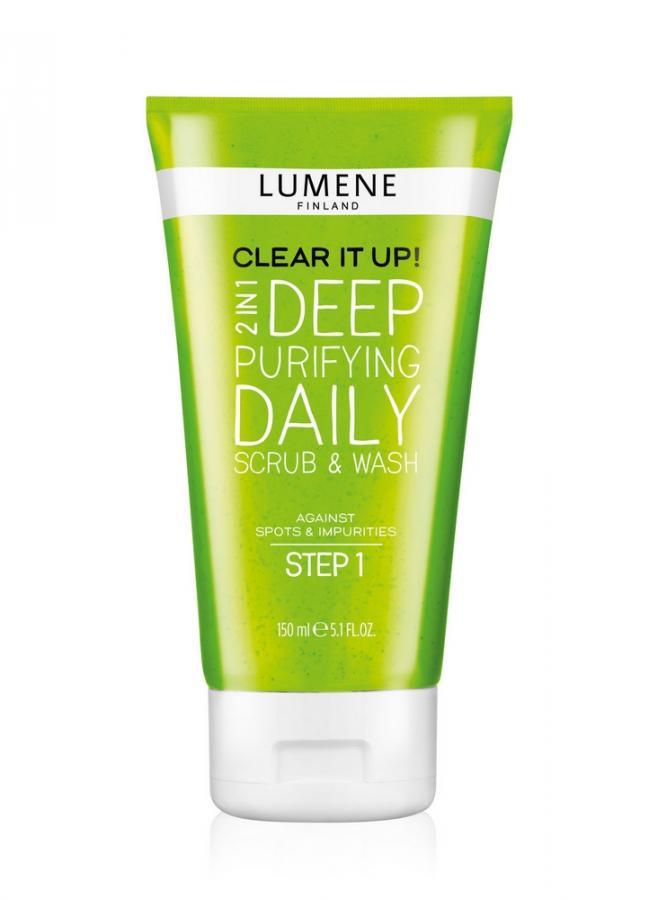 Средство для умывания глубоко очищающее и скраб 2 в 1 2 in 1 Deep Purifying Daily Scrub &amp; Wash Clear It Up! 150 млСкраб<br>Шаг 1. Против прыщей и несовершенств. Для молодой кожи.<br>