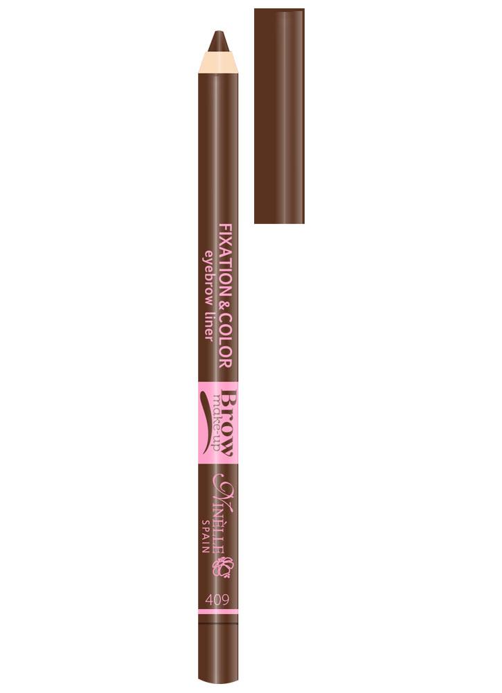 Карандаш-фиксатор для бровей Fixation&amp;Color Eyebrow Liner тон 409Карандаш для бровей<br>-<br>Цвет: Серо-коричневый;