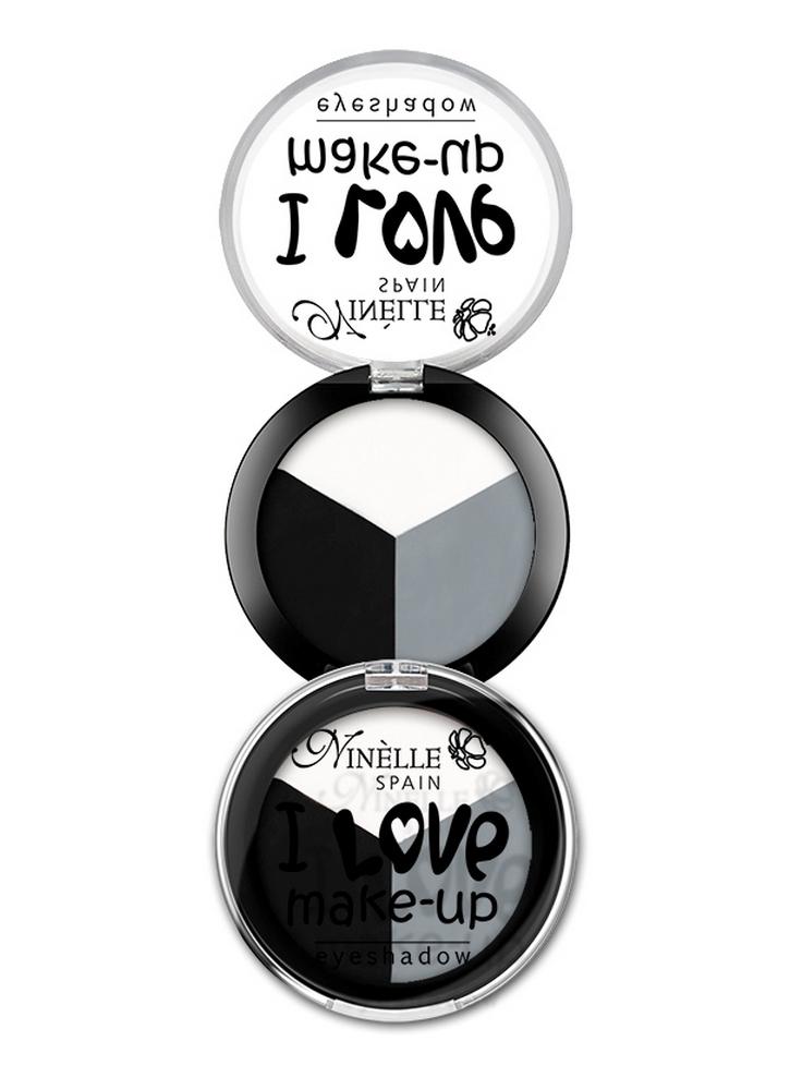 ени для век I Love Make-Up тон 605 Cеро-черное триоТени для век<br>Роскошные оттенки в мягкой пудровой текстуре.<br>Цвет: Cеро-черное трио;