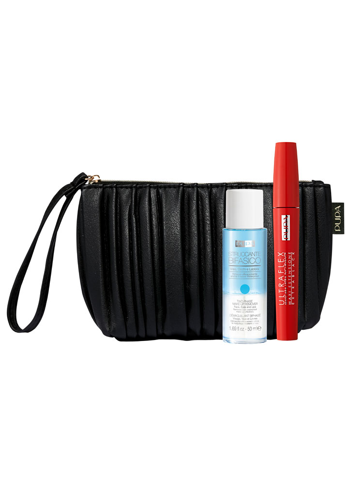 Набор Ultraflex &amp; Two Phase Make-Up RemoverНаборы<br>-Подарочный набор от PUPA, состоящий из туши ULTRAFLEX ультра черного цвета для разделения и удлинения ресниц, двухфазной жидкости для снятия макияжа с губ, глаз и лица TWO PHASE MAKE-UP REMOVER в мини-формате 50 мл. и стильной сумочки с петлей на запястье черного цвета.<br>