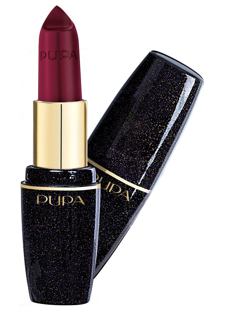 Помада для губ Праздничный лиловый PUPAПомада для губ<br>-Новые оттенки помады PUPA VOLUME в черно-глиттерной лимитированной упаковке из коллекции LIGHT UP THE NIGHT&amp;nbsp;&amp;nbsp;имеют насыщенный и стойкий цвет. Формула помады придает губам объем и ухаживает за нежной кожей. <br>Объем губ увеличивается на 5% через 10 минут после нанесения и на 12% после 7 дней применения. Кремовая текстура помады обеспечит стойкий результат, а очищенные воски в составе делают цвет еще насыщеннее. Яркость помаде придают сияющие полимеры.<br>Объем мл: 3,5; Цвет: Праздничный лиловый;