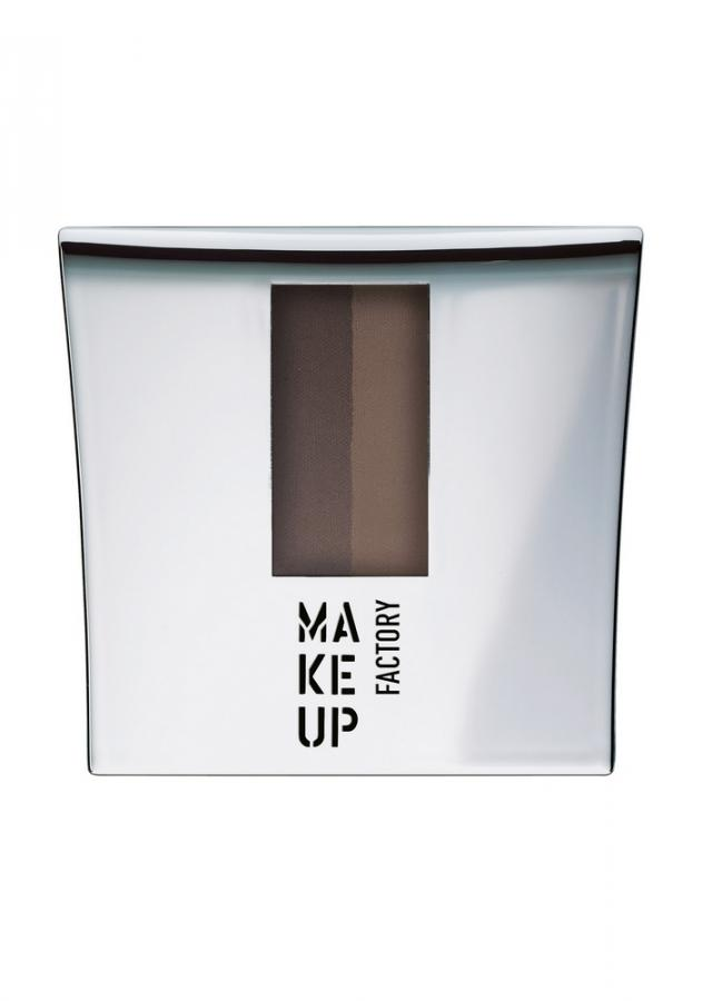 MAKE UP FACTORY Тени-пудра для бровей с трафаретом Eye Brow Powder тон 1 Интенсивный коричневый