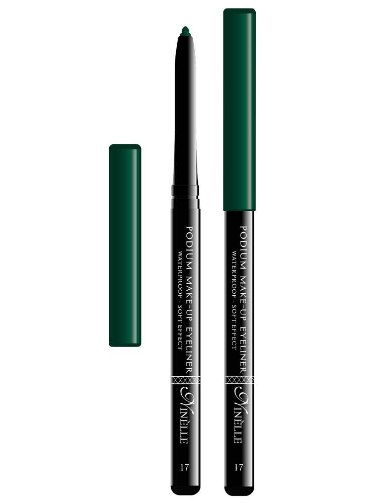 Карандаш для глаз водостойкий Podium Make-Up тон 17Карандаш для глаз<br>-Мягкая текстура водостойкого карандаша обеспечит идеальное нанесение и яркий насыщенный цвет. Карандашная линия фиксируется в течение 30-40 секунд, что позволит растушевать ее или подправить. Стойко держится на жирной коже и не растекается при контакте с водой. Подойдет как для естественного, так и для более яркого макияжа.<br><br>Цвет: Изумрудный;