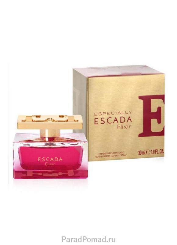 Парфюмерная вода Especially Elixir жен. 30 млЖенская<br>Композиция под названием Especially Escada Elixir, представленная торговой маркой Эскада, является составной частью ароматической линии Especially Escada, занимая флагманское место. Это чрезвычайно насыщенный аромат, который может быть использован для выхода в свет или посещения праздничных мероприятий. Также, парфюм рекомендуют применять перед романтическими свиданиями. Несмотря на то, что два других аромата в линии носят спокойный нейтральный характер, рассматриваемая композиция не выделяется из общей группы. Напротив, она дополняет ее как нельзя лучше. В ней также слышится традиционный розовый запах, который является характерной чертой представителей линии. И все-таки главную роль было решено отдать базовой насыщенности, представленной пачули и янтарем. К ним добавляется свежесть прозрачным нот чернослива и сливы в сердце парфюма. Также, композиция наполнена сладкими тонами груши и искрящимися оттенками грейпфрута, плюс мускусный мотив мускатного абельмоша и цветочная пленительность иланг-иланга. Базовая часть составлена нотами кашемира, ванили, белого мускуса, которые переплетаются с описанными выше ингредиентами.<br>