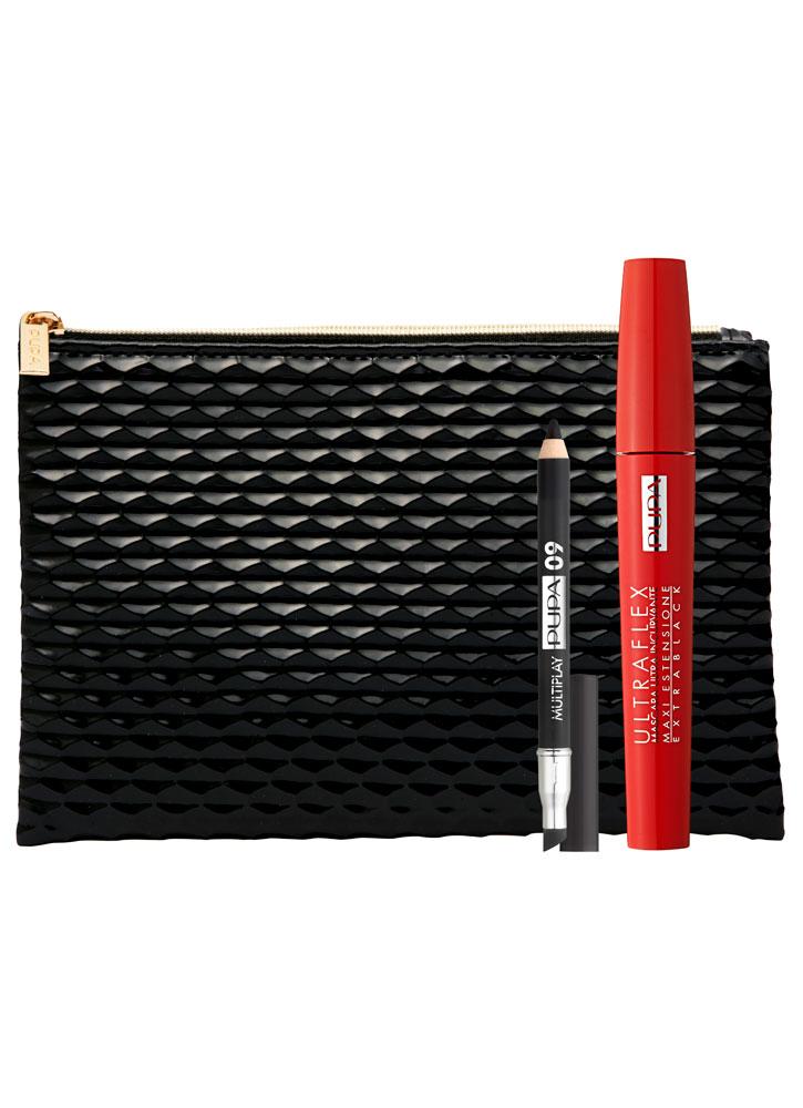 Набор ULTRAFLEX &amp; MULTIPLAYНаборы<br>-Подарочный набор от PUPA состоит из трех практичных предметов: тушь для ресниц ULTRAFLEX экстра черного цвета, которая обеспечит разделение и удлинение, карандаш для глаз MULTIPLAY &amp;#40;его можно использовать как подводку, каял или тени&amp;#41; и вместительная косметичка черного цвета.<br>
