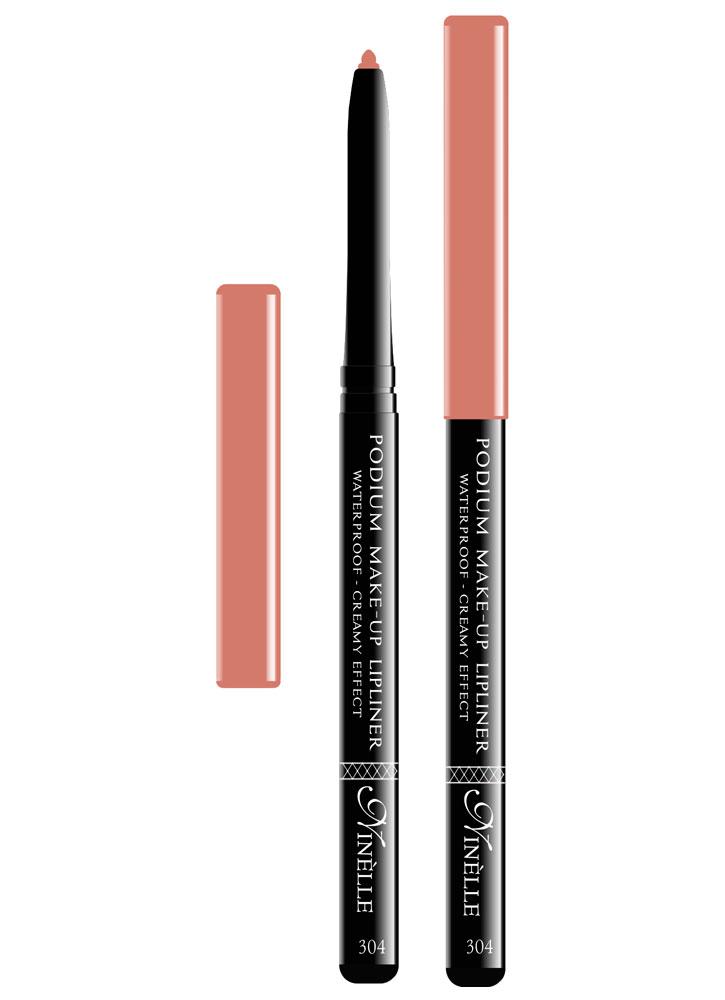 Карандаш для губ водостойкий Podium Make-Up  тон 304Карандаш для губ<br>-Водостойкий карандаш для губ поможет Вам очертить четкий контур губ, чтобы увеличить стойкость помады или блеска для губ.<br>Цвет: Нюдовый;