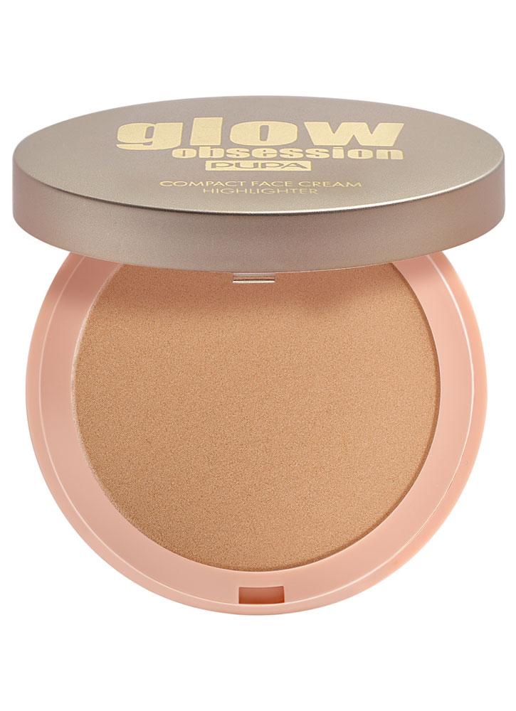 Крем-хайлайтер для лица компактный Золото PUPA Glow Obsession Compact Face Cream Highlighter фото