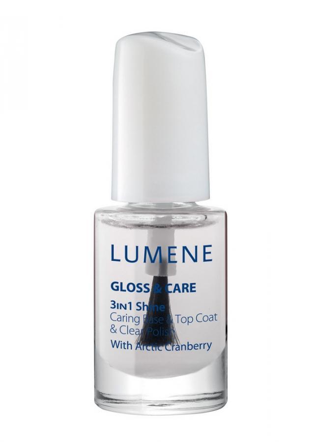 LUMENE Средство 3в1(ухаживающая основа+закрепляющее покрытие+сияющий блеск) 3 in 1 Shine Caring Base  Clear Gloss  Care