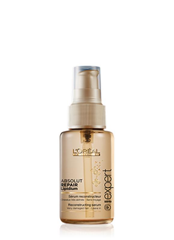 Сыворотка для поврежденных кончиков Serie Expert Absolut Repair Lipidium 50 млСыворотка<br>Сыворотка для мгновенного и глубокого восстановления сильно поврежденных волос. Стойкая и длительная реконструкция сильно поврежденных участков и защита всех зон волос. Аналогично действию праймера под макияж, сыворотка подготавливает волосы для последующей реконструкции. Средство глубоко впитывается в волокно волоса, до самых кончиков волосы подготовлены к устранению всех повреждений. Насыщенный крем золотистого оттенка.РЕЗУЛЬТАТ: Волосы становятся более сильными, мягкими, блестящими, послушными и шелковистыми на ощупь. Не утяжеляет. Быстро впитывается.<br>