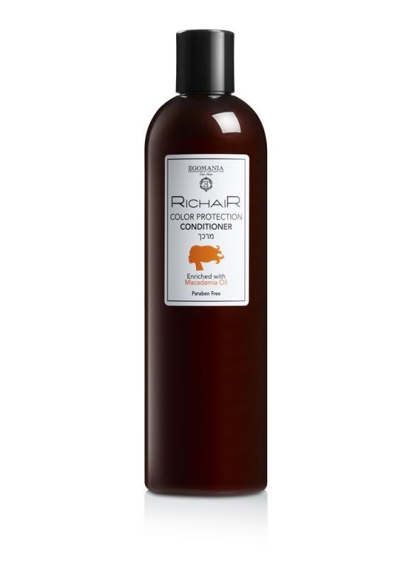 Кондиционер Richair защита цвета с маслом макадамии 400 млКондиционер<br>Кондиционер для окрашенных волос обладает смягчающим действием, обеспечивает ежедневное увлажнение, придавая волосам энергию и здоровый блеск. Использование кондиционера каждый раз после шампуня предотвращает вымывание пигмента из структуры окрашенных волос. Кондиционер плотно закрывает кутикулу волоса и увеличивает его плотность, придает волосу термоустойчивость при укладке.<br>Объем мл: 400;