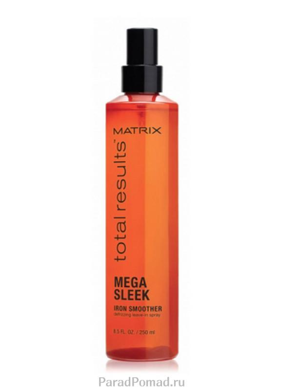 Спрей термозащитный Total Results Mega Sleek Iron Smoother 250 млСпрей<br>Спрей Mega Sleek Iron Smoother устраняет пушистость волос и придает им гладкость в течение всего дня.<br>