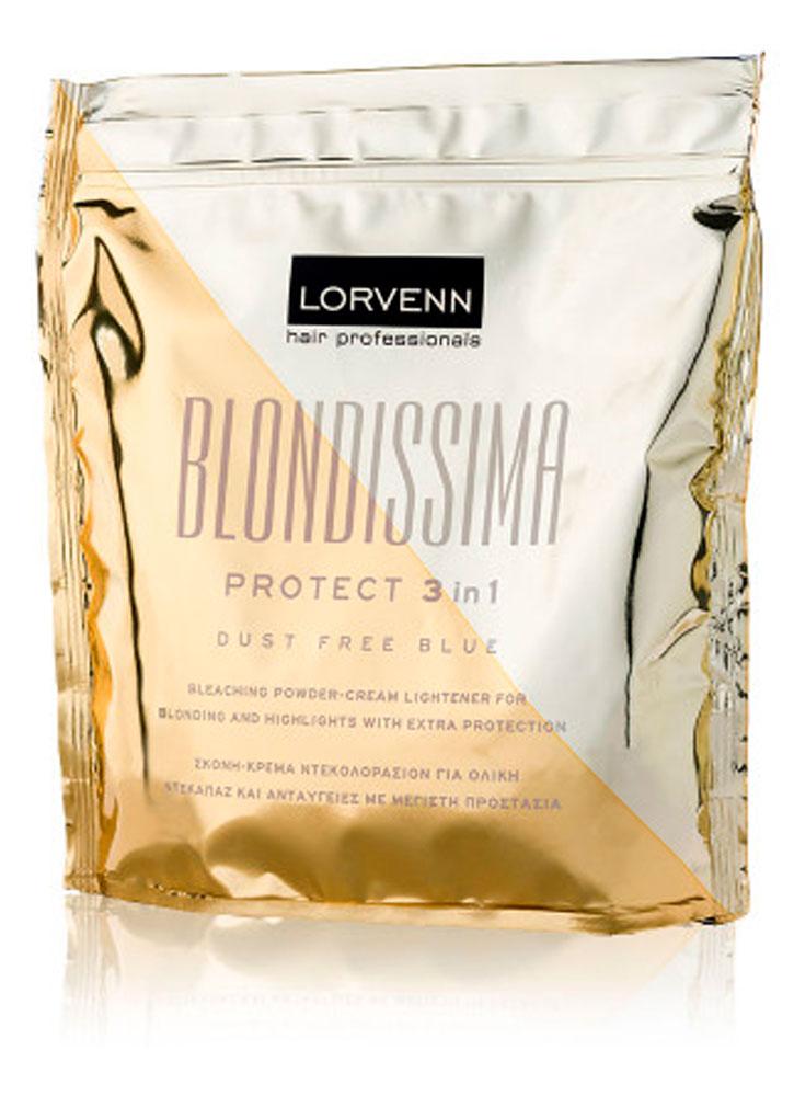 Порошковый осветлитель универсальный LORVENN Blondissima protect 3 in 1, 500 гр. фото