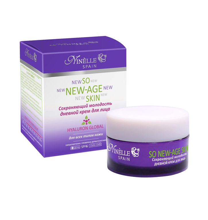 Крем для лица дневной сохраняющий молодость So New-Age Skin 50 млКрем дневной<br>Инновационный крем с активной гиалуроновой кислотой не просто эффективно укрепляет кожу, выравнивает ее тон и текстуру, но и запускает естественные механизмы ее омоложения, улучшает процесс обмена веществ в клетках кожи, ускоряет ее регенерацию.<br>