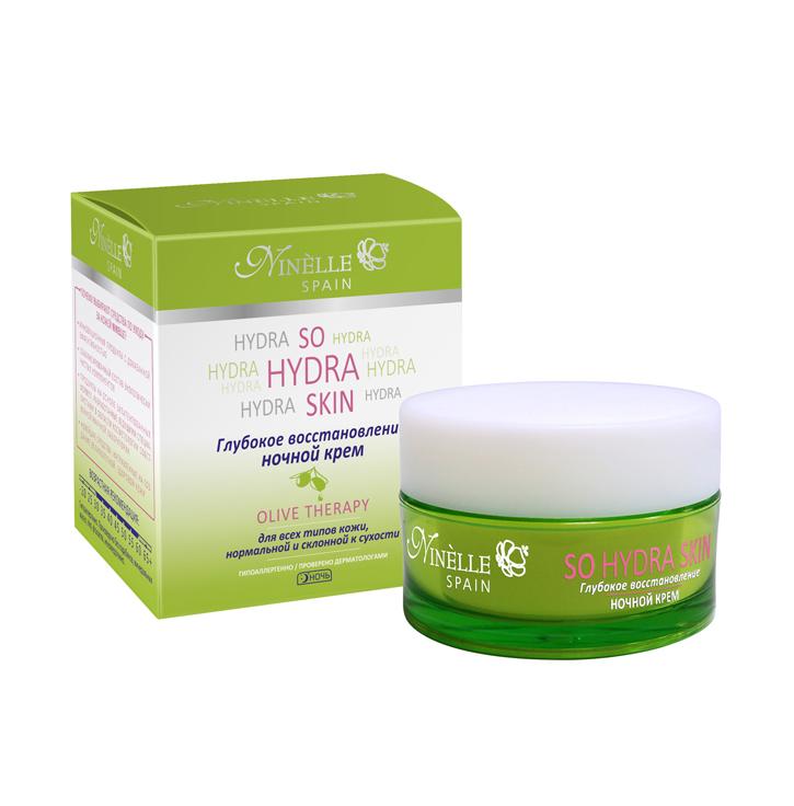 Крем ночной Глубокое восстановление So Hydra Skin 50 млКрем ночной<br>Крем, предназначенный для использования в ночные часы, восстанавливает кожу, обеспечивает бережный и эффективный уход. За ночь кожа наполняется энергией и увлажняется, ее тон и текстура улучшаются. Крем также гарантирует предотвращение появления морщин и повышает эластичность кожи, препятствует потере влаги с поверхности кожи.<br>