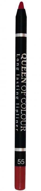 Карандаш для губ Queen Of Colour тон 55 Королевский красныйКарандаш для губ<br>Потрясающий контур - роскошные губы! Контурный карандаш для губ Queen Of Colour – это пять насыщенных и стойких оттенков, которые сделают образ притягательным и ярким. Теперь ни у кого не оставляя сомнений в красоте ваших губ. Абсолютно матовая, шелковистая и мягкая текстура изготовлена по принципу губной помады. Поэтому карандаш легко скользит по контуру губ, эффектно его подчеркивает и делает макияж максимально стойким в течение всего дня. Специальные насыщенные цветовые пигменты придают оттенкам роскошные насыщенные цвета, которые остаются на губах неизменными в течение всего дня. Карандаш выполнен в пластиковом, легко затачивающемся корпусе.<br>Цвет: Королевский красный;