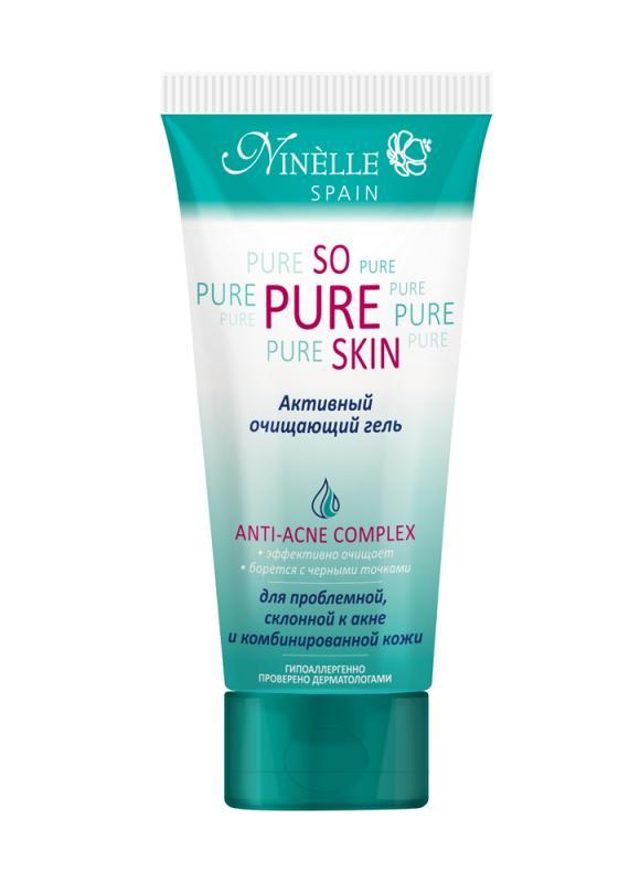 Гель активный очищающий So Pure Skin 100 млГель очищающий<br>С помощью геля очищать кожу очень просто и быстро, а эффект просто феноменальный. Легко удаляет макияж и загрязнения, при регулярном использовании устраняет жирный блеск, стягивает поры, предотвращает появление черных точек.<br>