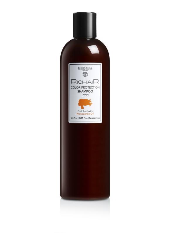 Шампунь Richair защита цвета с маслом макадами 400 млШампуни<br>Шампунь мягко очищает и одновременно защищает окрашенные волосы, обеспечивает свежесть цвета по всей длине до следующего окрашивания волос.<br>Объем мл: 400;
