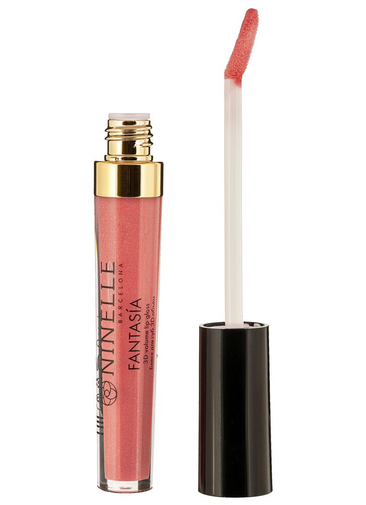 Купить Блеск для губ с эффектом 3D объема Теплый розовый с шиммером NINELLE, Fantasia, Испания