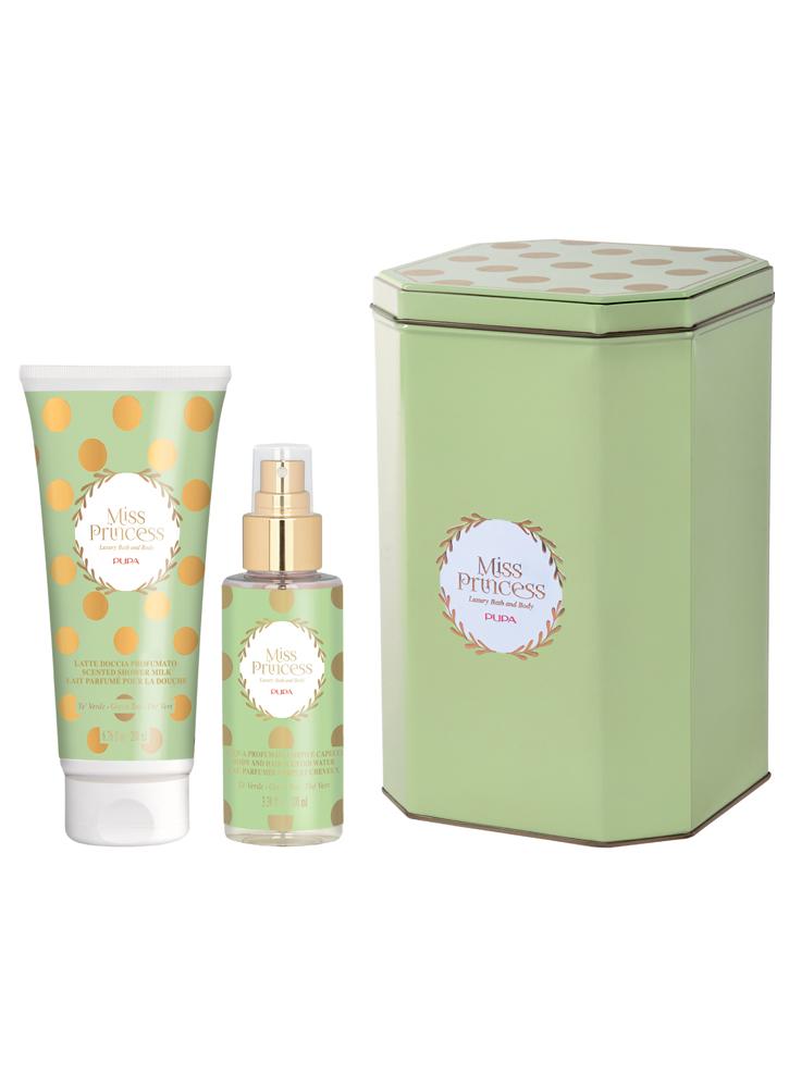 Набор для тела Miss Princess Small KitНаборы по уходу за кожей <br>-В маленький подарочный набор от PUPA входит ароматизированный гель для душа, который мягко очистит кожу от загрязнений и ароматизированный спрей для тела и волос, легкий и свежий. Продукты упакованы в красивую жестяную коробку.<br>Цвет: Зеленый чай;