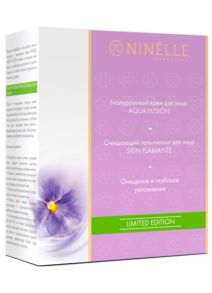 Купить Набор Гиалуроновый крем для лица+Очищающий гель-пилинг для лица NINELLE, AQUA FUSION+SKIN FLAMANTE, Испания