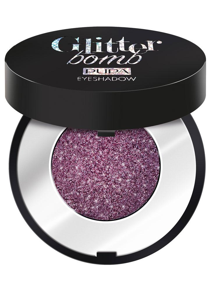 Тени для век Замороженный лиловый PUPAТени для век<br>Glitter Bomb – тени экстремальный глиттер, с высокой концентрацией микронизированных кристаллов мгновенно создает насыщенное яркое покрытие с экстремальным сиянием.<br>Вес гр: 0,8; Цвет: Замороженный лиловый; RGB: 84,54,58;